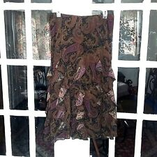 Chaps size M Paisley Elastic Waist Ruffle Accented Multi Fall Color Career Skirt