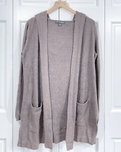 BAREFOOT DREAMS CozyChic Lite Coastal Soft Hooded Cardigan Cocoa Size XS/S