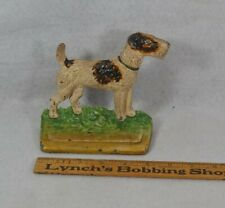 antique door stop wire hair fox terrier Hubley paint cast iron original