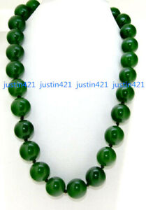 """Beautiful Huge 14mm Natural Green Jade Round Beads Gemstone Necklace 18"""" AAA"""