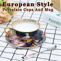 Vintage Fine Bone China Tea Cup Spoon and Saucer Set European Coffee Mug  N
