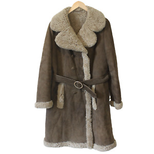 Vintage Sheepskin Coat by ZEILER Ladies Long Thick Sherling Lined Suede Leather