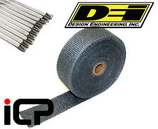 "DEI Black Glass Fiber Heat Exhaust Wrap & Stainless Steel Tie Kit 2""x50FT Roll"