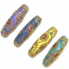 IB361 Assorted w Gold 62mm Tapered Oval Indonesia-Style Metal & Enamel Beads 4pc