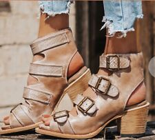 NEW W/O BOX SZ 9 FREEBIRD BY STEVEN QUAIL TAUPE STRAPPY SANDALS BOOTIES