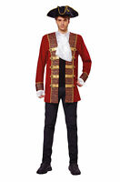 Pirate Coat Red Cuffs/Jabot Fancy Dress Costume Outfit Male Mens Adult One Size