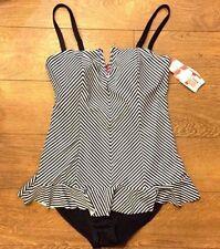 Spanx 2691 Ruffle Swim Dress - Black & White Thin Stripes Sz 14 New w Tags  Z14
