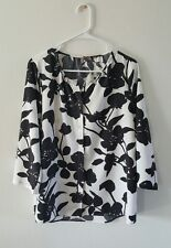 Black White Floral Blouse 3/4 Sleeve 1X Crosby