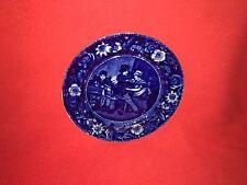 Historical Staffordshire Dark Blue Plate Wilkie Designs The Valentine Ca. 1825