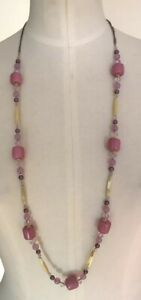 """ANN TAYLOR LOFT MIXED BEAD PINK/LAVENDER NECKLACE 17"""" NWT"""