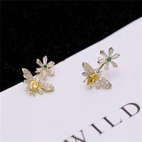 Women Cute Bee Daisy Crystal Flower Bumblebee Earrings Ear Studs Jewelry J