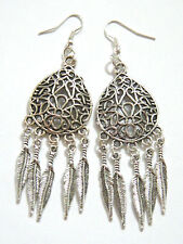 BIG FEATHER EARRINGS Tibet Silver 10 Feathers Filigree Silver Plated Wires NEW!