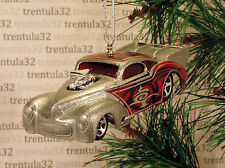 WILD WILLY '41 WILLYS COUPE 1941 SILVER HOT ROD DRAGSTER CHRISTMAS ORNAMENT XMAS