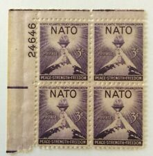 US Scott #1008, Plate Block 1952 NATO 3c FVF MNH Upper Left