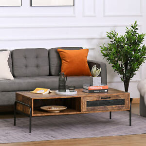 HOMCOM Industrial Coffee Table W/ Drawer and Open Storage Compartment Metal Legs