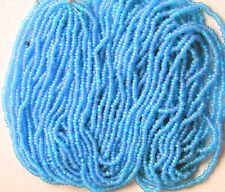 "Vintage Blue Rose Glass Seed Beads Czech Frosted Shimmer Glow 20"" Long Hank 11/o"