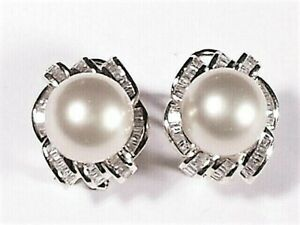 white South Sea pearl earrings, diamonds, solid 14k white gold