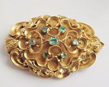 Antique Victorian 15ct Gold Foiled Emerald set Oval Locket Back Brooch c1865