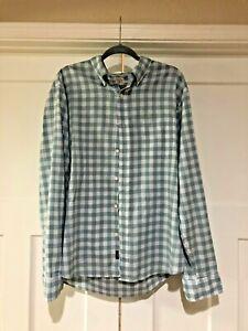 Faherty Blue Check Long Sleeve Button Down Shirt Size XL