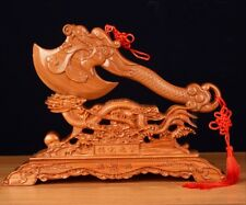 Feng Shui Peach Wood Axe W+ Dragon Rack Amulet Decoration Luck Blessing Gift