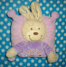 Doudou coussin lapin rose mauve violet fleurs TEX BABY - # A