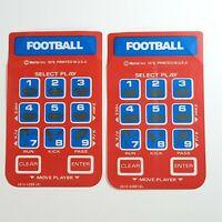 Lot of 2 Vintage 1979 Mattel Football Intellivision Controller Overlays