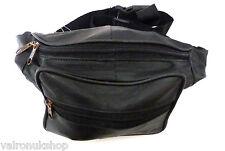 Suave Negro De Cuero Delux correa del bolso Bum Bag Damas O Caballeros Con Cremallera Compartimentos