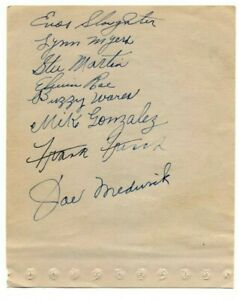 1938 ST LOUIS CARDINALS AUTOGRAPHED SIGNED SHEETS  JSA PSA/DNA  HOF