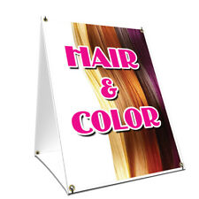 A-frame Sidewalk Sign Hair & Color With Graphics On Each Side