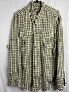 Duluth Trading Men's Plaid Long Sleeve Button Front Lightweight Shirt Large