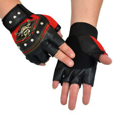 Men Women PU Leather Skull Punk Driving Motorcycle Biker Fingerless Gloves Sale