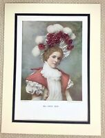 1899 Antique Print Portrait of Edna May English Victorian Actress Girl Lady