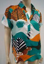 PAUL & JOE Blue Brown Cream Orange Silk Cotton Abstract Print Blouse Top 10 BNWT