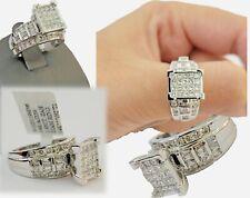 14k white Gold 2CT Diamond Ladies Ring Princess Cut Baguette Round Diamond,Women