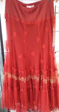 Lace red midi skirt size 12