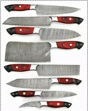 """8""""pieces HAND FORGED DAMASCUS STEEL CHEF KNIFE KITCHEN Knives Set W/wood Handle"""