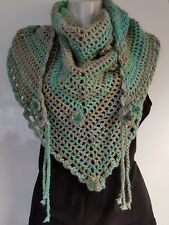 HANDMADE CROCHET ROAD TRIP SCARF ICE YARN SOFT CHAIN WOOL BLEND IN GREENS
