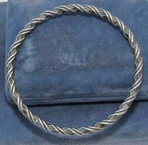 HEAVY STERLING SILVER STAMPED EMBOSSED TWIST ROPE BANGLE BRACELET 23G WOW! P3