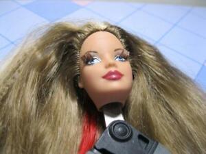 model muse BARBIE Doll HEAD Nude BODY Part Crimped Red streak Hair Root Lash