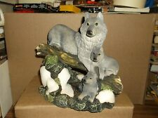ALABASTER GRAY WOLF WITH PUPS, IN FOREST SCENE