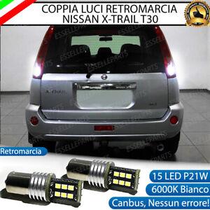 COPPIA LAMPADE RETROMARCIA PER NISSAN X-TRAIL T30 P21W 15 LED CANBUS 6000K