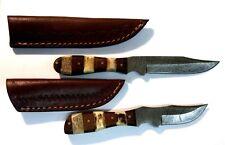 SET OF 2 Damascus Hand Made Fixed Blade Knives Bone-Wood Handle Leather Sheaths