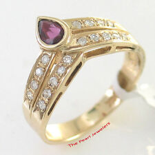 14k Yellow Solid Gold Bezel Setting Genuine Diamonds, Cabochon Red Ruby Ring TPJ