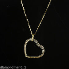 9ct Yellow Gold Necklace with CZ Tilted Heart Pendant