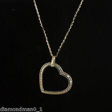 9ct Oro Amarillo Collar con circonita Inclinado Colgante Corazón