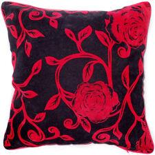 UF82a Red Rose Flower Black Velvet Style Cushion Cover/Pillow Case *Custom Size*