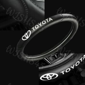 """15"""" (38cm)  Car Steering Wheel Cover Genuine Leather For Toyota New Black X1"""