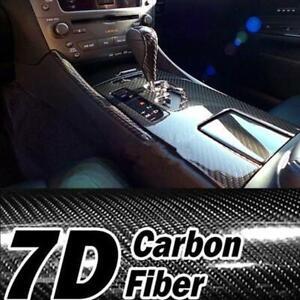 "7D HD 12x 60"" Cool Car Glossy Carbon Fiber Texture Vinyl Wrap Sticker Film Black"