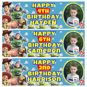 TOY STORY Photo Personalised Birthday Banner - Birthday Party Banner - 1x3ft