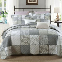 Vintage Cotton Grey Patchwork Quilted Bedspread Coverlet Throw Queen/King Size